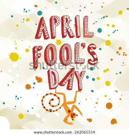 April Fools Day illustration with cartoon monkey on paper background with colorful splash. - stock vector