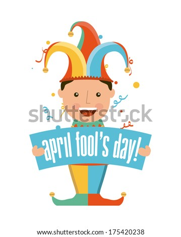 april fools day over white background vector illustration - stock vector