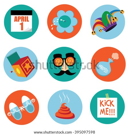 April Fools Day round icon symbol stickers. EPS 10 vector illustration. - stock vector