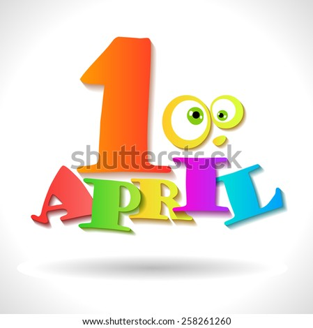 April 1 holiday - April Fool's Day vector card - stock vector