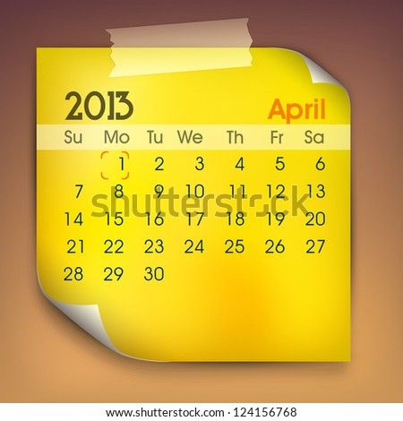 April month calender 2013. EPS 10. - stock vector