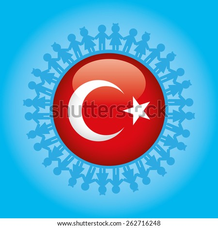 April 23, National Sovereignty and Children's Day. Dedicated to the children. Turkish Flag symbols and childs.