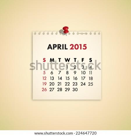 April 2015 Note Paper Calendar Vector - stock vector