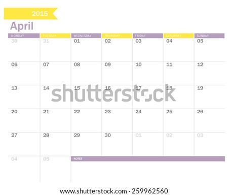 April 2015 - planning calendar  - stock vector
