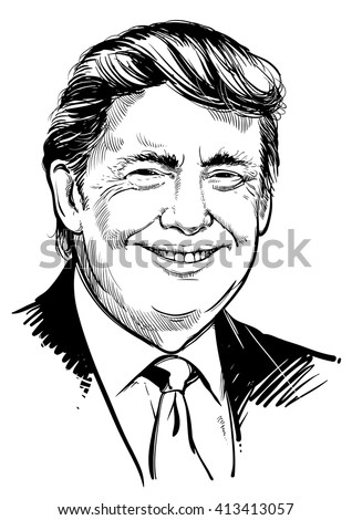 April 30, 2016: Portrait of Donald Trump. vector illustration