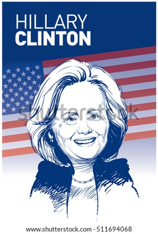 April 30, 2016: Portrait of Hillary Clinton. vector illustration .eps10. Editorial use only