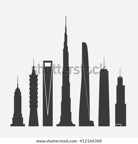 April 27, 2016: Set of Vector Illustrations of Famous Skyscrapers. Empire State Building, Taipei 101, Shanghai World Financial Ctr., Burj Khalifa, Shanghai Tower, One World Trade Ctr., Willis Tower - stock vector