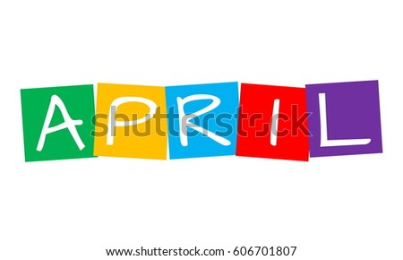 april, text in colorful rotated squares