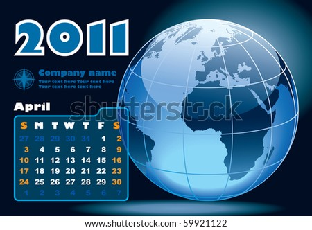 April - the Earth blue calendar for 2011, weeks starts on Sunday - stock vector