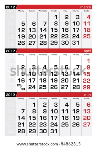 April 2012 Three-Month Calendar - stock vector
