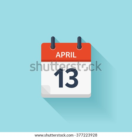 April 13. Vector flat daily calendar icon. Date and time, day, month. Holiday. - stock vector