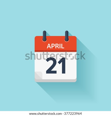April 21. Vector flat daily calendar icon. Date and time, day, month. Holiday. - stock vector