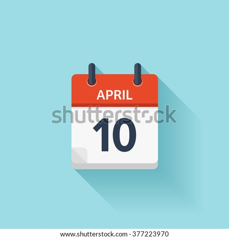 April 10. Vector flat daily calendar icon. Date and time, day, month. Holiday. - stock vector