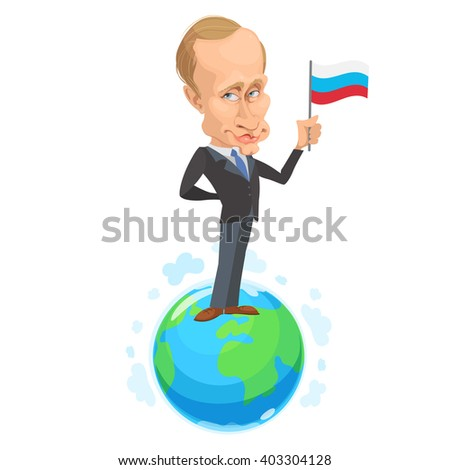 April 11, 2016: vector illustration of a cartoon portrait of the president of the Russian Federation Vladimir Putin is on the globe and holding a Russian flag