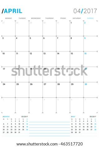 calendar 2017 template monthly