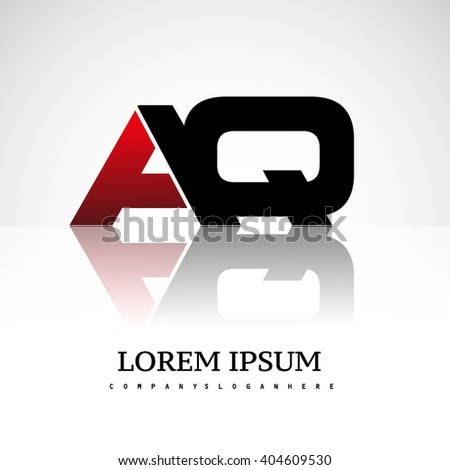AQ company linked letter logo icon red and black - stock vector