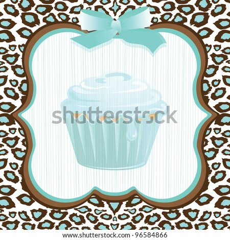 Aqua and brown leopard print background with a framed faded cupcake and bow detail. Super cute birthday party invitation for any age!