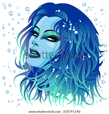 Aqua Girl Sensual Face - stock vector
