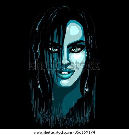 Aqua Girl Sensual Portrait  - stock vector