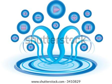aqua media buttons - stock vector