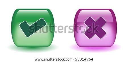 Aqua Tick & Cross Sign Icons - stock vector