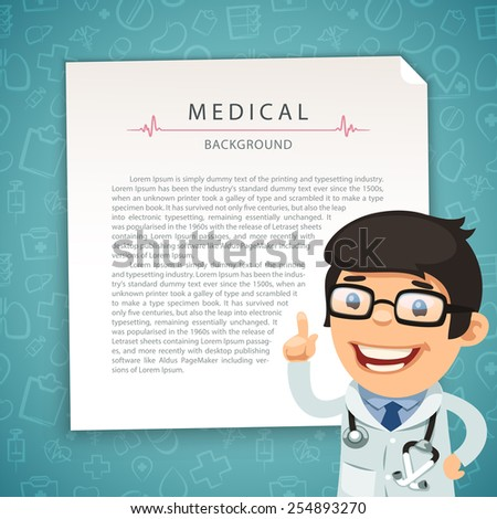 Aquamarine Medical Background with Doctor. In the EPS file, each element is grouped separately. - stock vector