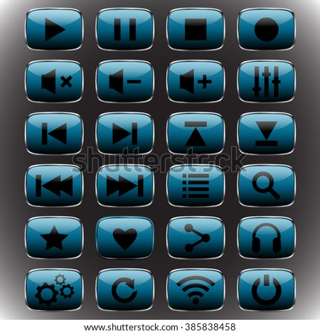 aquamarine set Media Player Rounded square web button isolated.