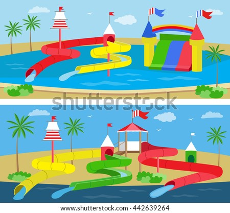 Aquapark with slides for family and children. (vector illustration, flat concept)