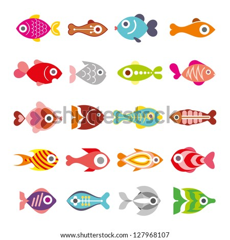 Aquarium Fishes - set of vector icons. Isolated on white background.