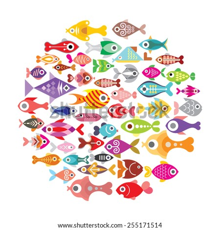 Aquarium Fishes - vector icons round illustration. Isolated on white background. - stock vector