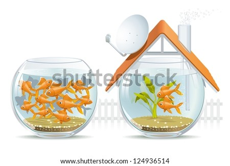 Aquarium home & social housing. Illustration by-side comparison of an individual house of social housing. - stock vector