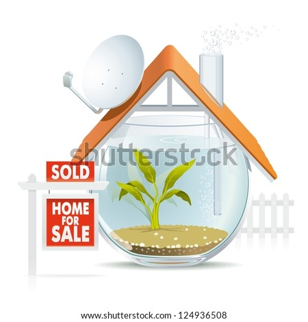 Aquarium home sold. Illustration of funny home as cozy aquarium for fish to be sold. - stock vector