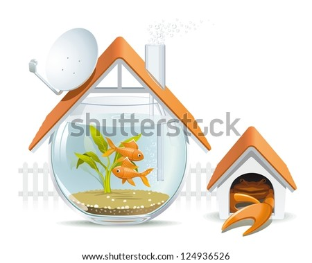 Aquarium home with a guard. Illustration of an apartment building in the form of an aquarium with fish and crab instead of a dog in a kennel.