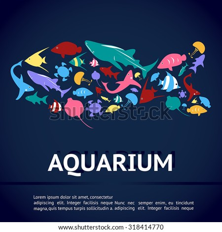 Aquarium infographic banner template layout with marine animal icon such as shark, sea turtle, jellyfish, ray, butterfly fish, angel fish in fish shape in deep blue water background (vector)  - stock vector