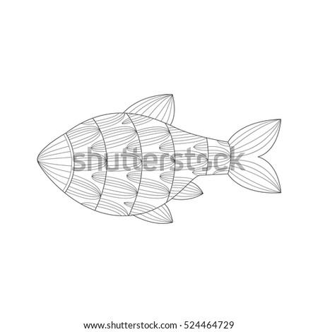 Aquarium Tropical Fish Sea Underwater Nature Adult Black And White Zentangle Coloring Book Illustration