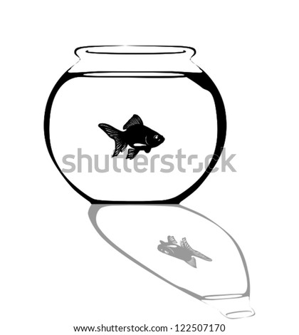 Aquarium with a small fish.Silhouette.