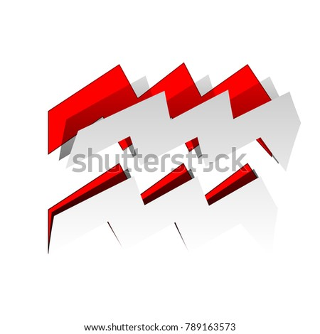 Aquarius sign illustration. Vector. Detachable paper icon with red body stock. Isolated.