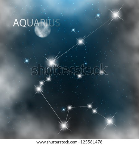Aquarius vector Zodiac sign bright stars in cosmos. - stock vector