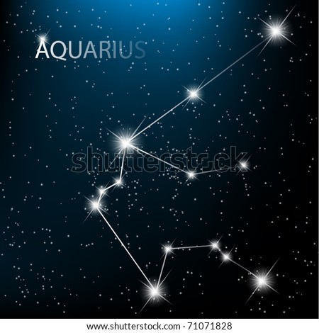Aquarius vector Zodiac sign  bright stars in cosmos. - stock vector