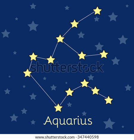 Aquarius Water Zodiac  constellation with stars in cosmos. Vector image with navy blue background and stars - stock vector