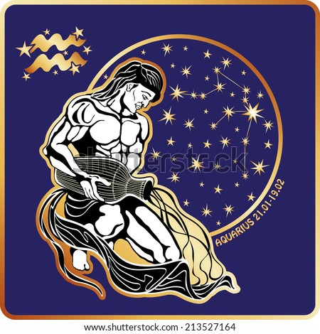 Aquarius zodiac sign. Horoscope.Muscular man sits and pours water from a pitcher.Circle with constellation and stars.Vector Illustration in retro style.   - stock vector
