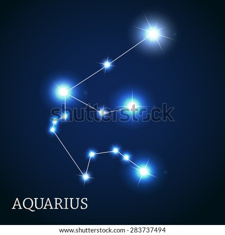 Aquarius Zodiac Sign of the Beautiful Bright Stars Vector Illustration EPS10 - stock vector