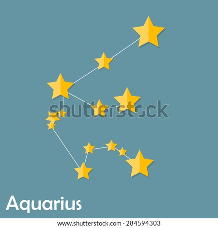 Aquarius Zodiac Sign of the Beautiful Bright Stars Vector Illustration EPS10