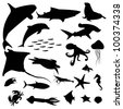 Aquatic life silhouettes pack - stock vector