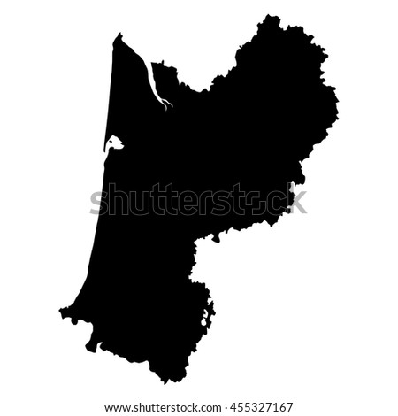 Aquitaine black map on white background vector
