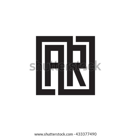 AR initial letters looping linked square monogram logo