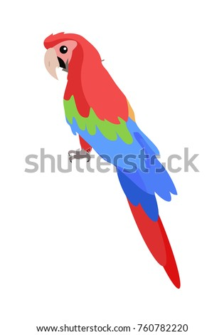 Ara parrot cartoon character. Cute Ara Parrot flat vector isolated on white. South America fauna. Colorful parrot icon. Wild animal illustration for zoo ad, nature concept, children book illustrating
