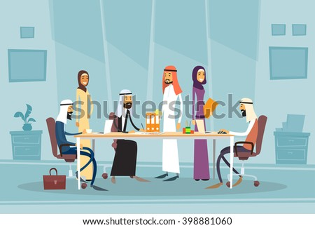 Arab Business People Meeting Discussing Office Desk Muslim Arabic Businesspeople Working Flat Vector Illustration - stock vector