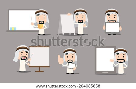 arab businessman character - blank chart - stock vector