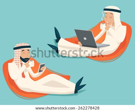Arab Businessman Chat Laptop Mobile Phone Drink Coffee Tea Symbol Icon on Stylish Background Retro Cartoon Design Vector Illustration - stock vector